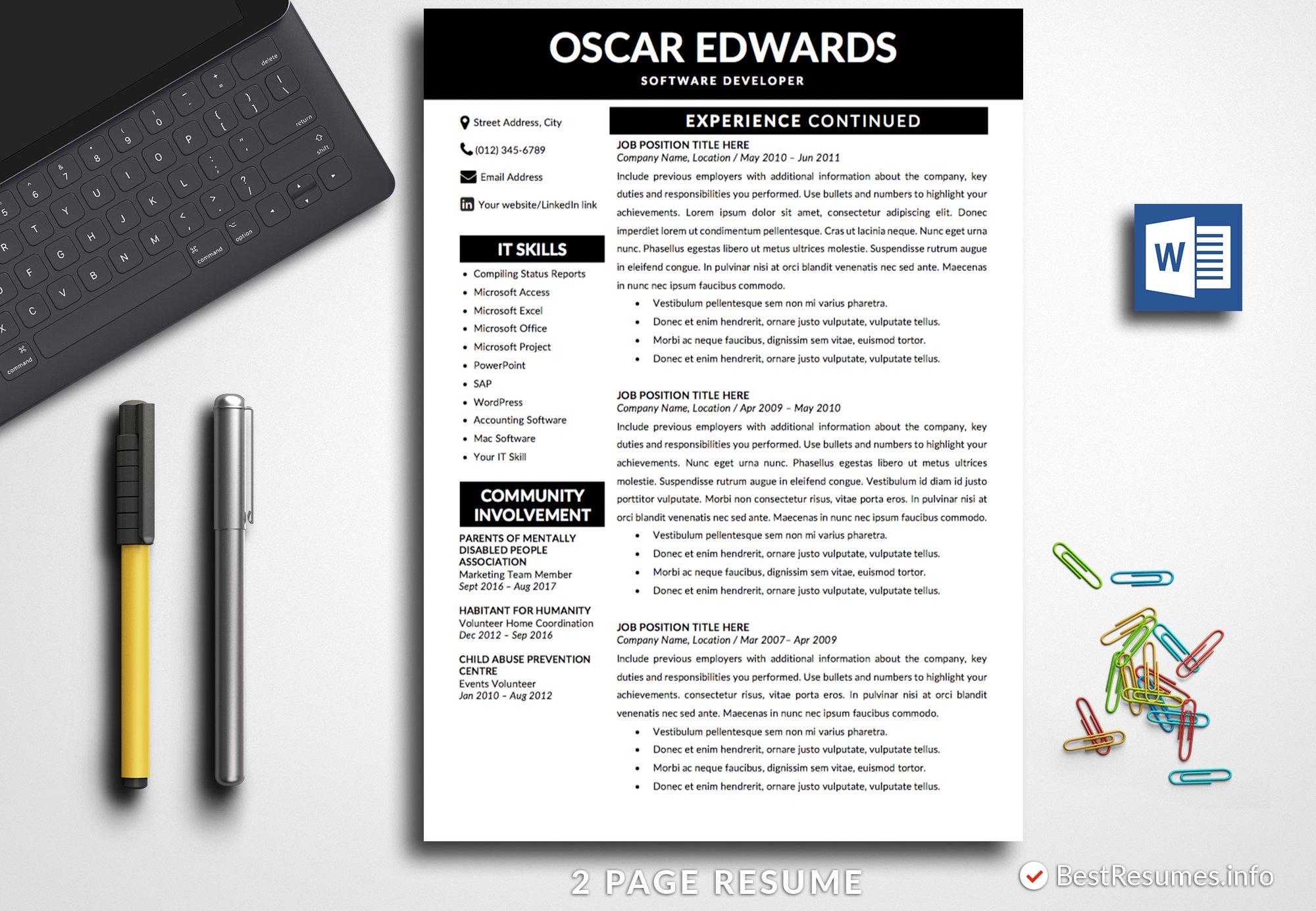 Professional Resume Template Word ~ Resume Templates ~ Creative Market