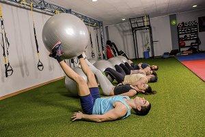 Gym exercises, fun ball