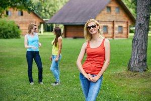 three girls having fun outdoors