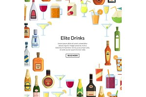 Vector background with alcoholic drinks in glasses and bottles