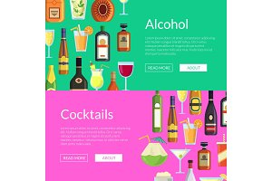 Vector banners illustration with alcoholic drinks in glasses and bottles in flat style