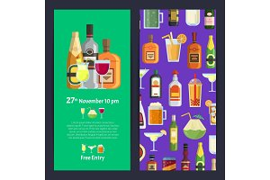 Vector vertical invitation template party with alcoholic drinks