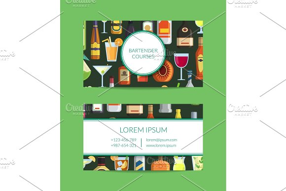 Vector Business Card Template For Bar With Alcoholic Drinks In Glasses And Bottles In Flat Style