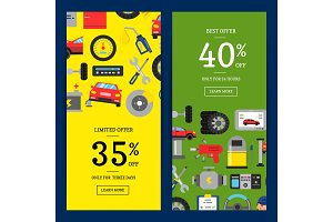 Vector sale web banners illustration with flat style car service elements for car service