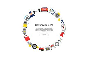 Vector flat style car service elements in circle