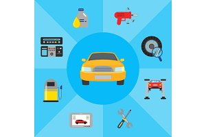 Vector illustration car service elements automobile