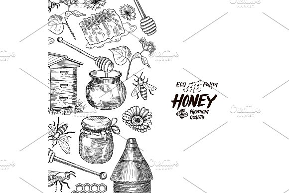 Vector Background With Sketched Honey Elements With Place For Text