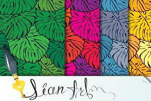 Set of seamless patterns with palm