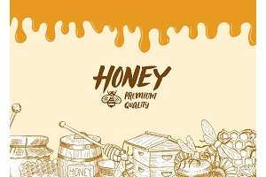 Vector background with sketched honey elements, dripping honey