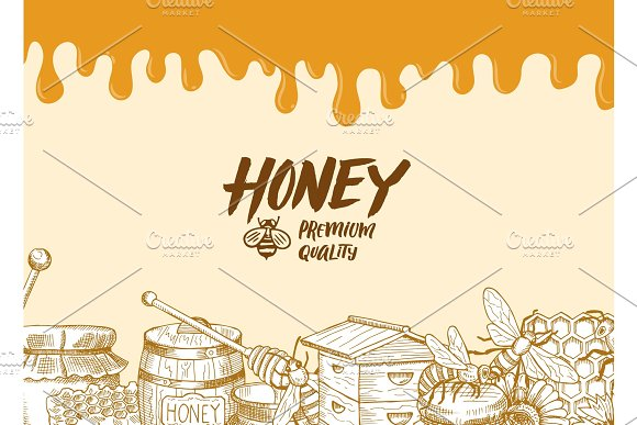 Vector Background With Sketched Honey Elements Dripping Honey