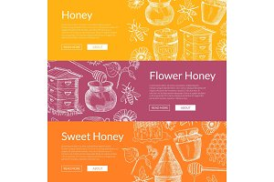 Vector web banners illustration with hand drawn honey elements