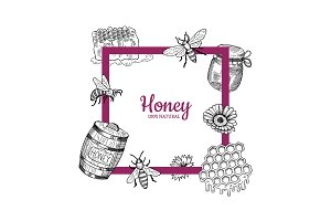 Vector frame with hand drawn honey elements