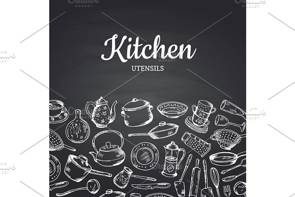 Vector Background On Black Chalkboard Illustration With Kitchen Utensils And Place For Text