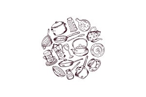 Vector hand drawn kitchen utensils in circle illustration