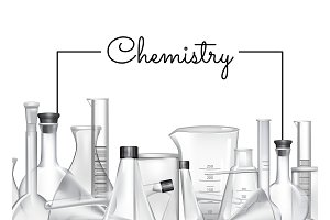 Vector background with place for text and chemical laboratory glass tubes