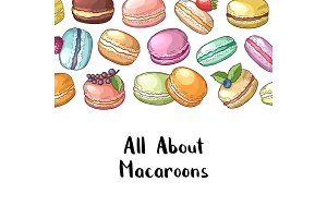 Vector background with colored hand drawn macaroons and lettering