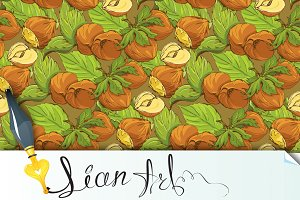 Seamless pattern with hazelnuts