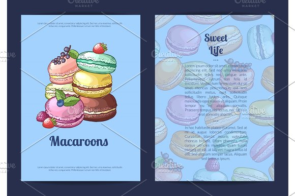 Vector Card Or Brochure Template For Sweet Or Pastry Shop With Colored Hand Drawn Macaroons