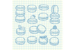Vector set of hand drawn macaroons illustration