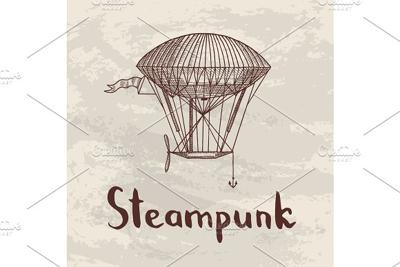 Vector Steampunk Hand Drawn Airships