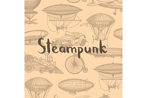 Vector background with steampunk hand drawn airships