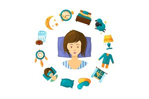 Vector sleeping disorder concept illustration with cartoon sleep elements