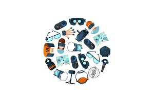 Vector flat style virtual reality elements in circle illustration
