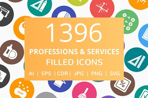 1396 Professions Filled Round Icons