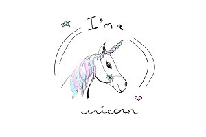 Cute unicorn with text. Vector fashion cartoon illustration and lettering on a white background.