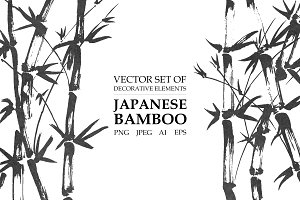 Vector japanese bamboo set
