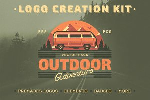 Outdoor Adventure. Logo Creation Kit