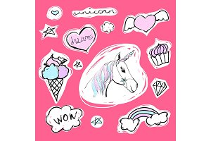 Fashion set of stickers with unicorn, hearts, ice-cream and stars. Vector cartoon illustration with rainbow and diamond.