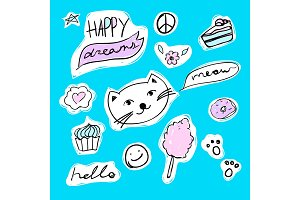 Fashion set of stickers with cat, heart, candyfloss and star. Vector cartoon illustration with donut and cupcake.