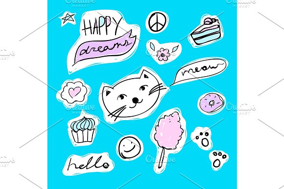 Fashion Set Of Stickers With Cat Heart Candyfloss And Star Vector Cartoon Illustration With Donut And Cupcake