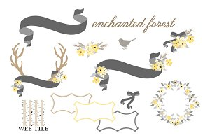 Antlers, Flowers, Ribbons Vector