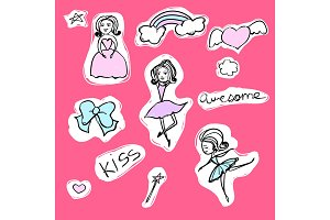 Fashion set of stickers with ballerina, princess and rainbow. Vector cartoon illustration with bow and magic wand.