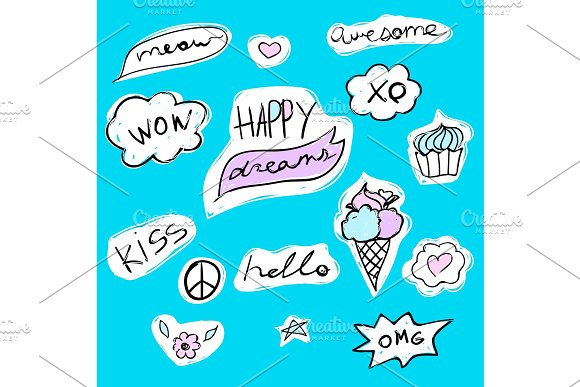 Fashion Set Of Text Stickers With Lettering Happy Dreams Hello Meow Wow And Kiss Ice-cream And Cupcake