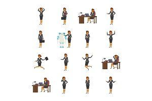 Set of business woman characters