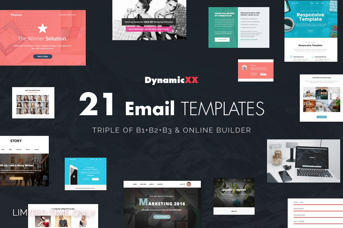 BUNDLE of 21 Email Templates -Triple - Email Templates | Creative ...