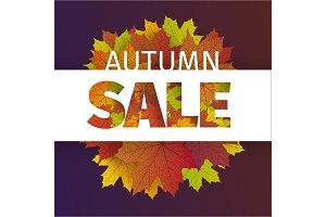 Fall sale design. Autumn discount. Vector fall leaves. Vector fall sale poster illustration with colorful autumn leaves. Can be used in business for flyers, banners or posters.