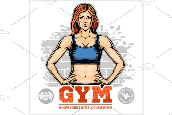 Sexy Girl In Sportswear Fitness Lifestyle Vector Illustration