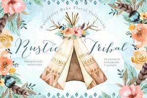 Rustic Tribal Watercolor Clip Art