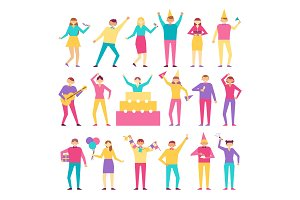 Set of People Having Fun on Birthday Party Vector