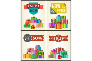 Shop Now Best Hot Price Promo Labels Ribbons Stars