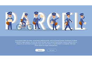 Parcel Conceptual Web Banner with Cartoon Postman