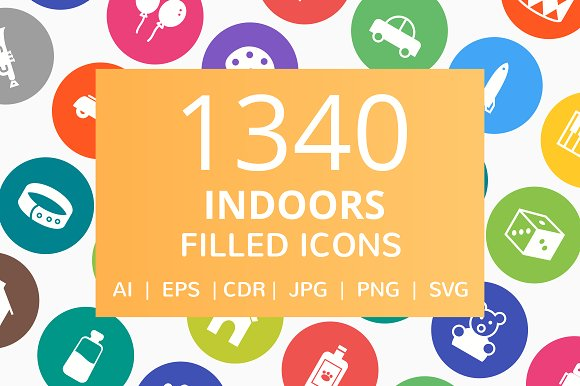 1340 Indoors Filled Round Icons