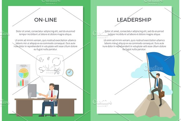 Online And Leadership Set Of Posters With Text