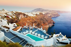 Fira town, Santorini at sunset