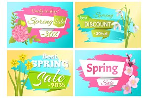 Set Spring Sale Advertisement Label Branch Flowers