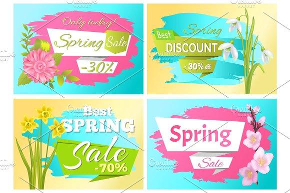 Set Spring Sale Advertisement Label Branch Flowers